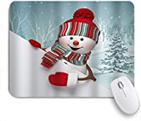 NIESIKKLAマウスパッド クリスマス冬の雪だるま雪に覆われた森の休日アートプリント ゲーミング オフィス最適 高級感 おしゃれ 防水 耐久性が良い 滑り止めゴム底 ゲーミングなど適用 用ノートブックコンピュータマウスマット