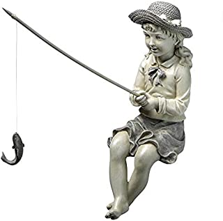 Design Toscano EU9305 Big Catch Fisherwoman Girl Fishing Garden Statue, Two Tone Stone
