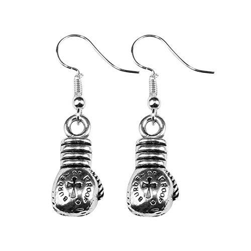 Silver Knight Tibet-Silber Boxhandschuh-Ohrringe mit Haken aus Sterlingsilber, in Geschenkbeutel