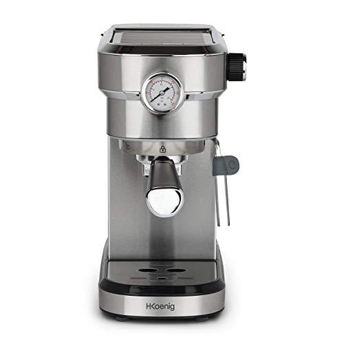 H.Koenig Machine Expresso Automatique Professionnelle Pression 15 Bar EXP820 INOX, Portable, Système thermoblock, 1.1L, Pompe baromètre intégré, Chauffe-Tasses, Buse Vapeur, Cafés et Boissons lactées