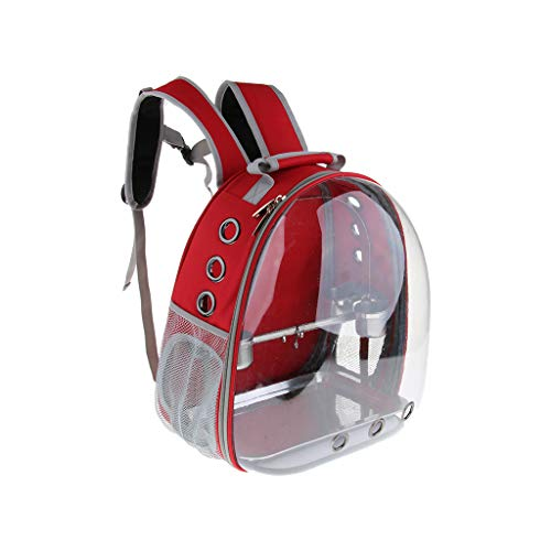 B Blesiya Pet Outdoor Travel Backpack Birds Parrot Waterproof Carrier with Perch Cups - Red