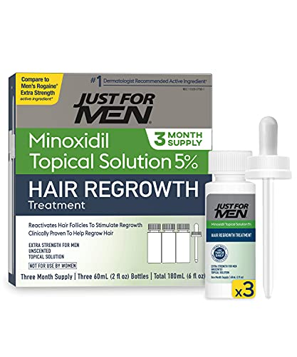 5% Minoxidil Extra Strength Hair Regrowth Treatment by Just For Men, Topical Solution for Hair Loss, Thinning & Balding, Unscented, Includes Dropper,...