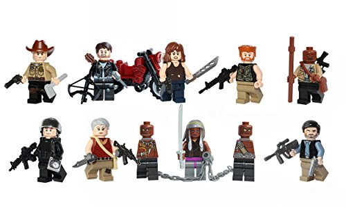 The Walking Dead Minifigures 9 Pack - Rick, Daryl, Glenn, Michonne, Governor, Abraham, Maggie, Carol, Morgan made with LEGO & custom parts.