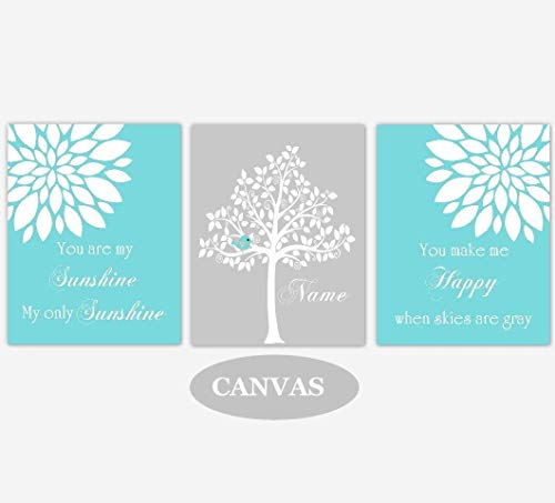 You Are My Sunshine CANVAS Wall Art - Personalize Name, Teal Mums Dahlias Flowers, Baby Nursery Decor, Set of 3