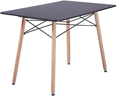 Rectangular de vidrio mesa de comedor, con capacidad para 4 sillas de comedor de vidrio templado transparente mesa mesa de la cocina,Black