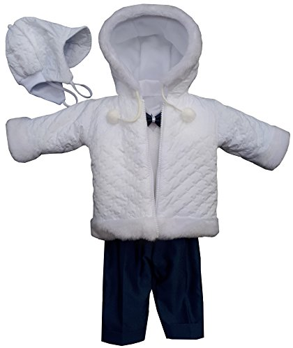 YES Set Winter Taufanzug Festanzug Jacke Winterjacke Hose Hemd Taufe Baby Anzug, Adam, Gr.62, weiß-Marineblau