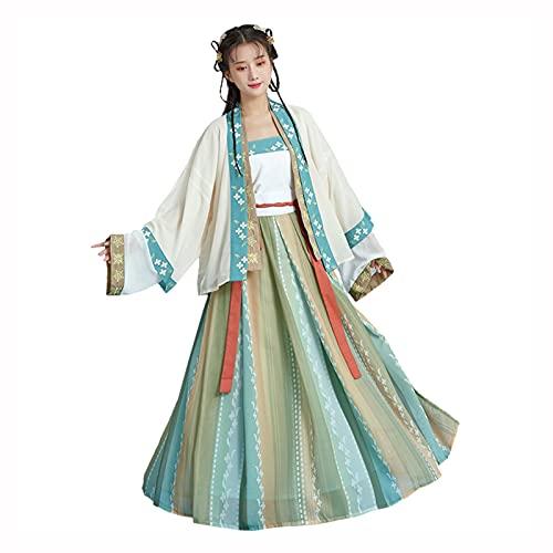 YANLINA Hanfu Vestido Tradicional Chino Hanfu Para Mujeres Nias Disfraces De Princesa Vestir Escenario Para Cosplay, Halloween, Vestidos De Fiesta (Color : Green, Tamao : L)