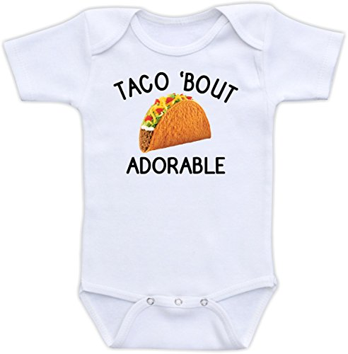 DoozyDesigns Taco 'Bout Adorable - Funny Baby Clothes, Baby Boy or Girl Bodysuit, Gender Neutral Unisex Baby Gift (3M Short Sleeve Bodysuit)