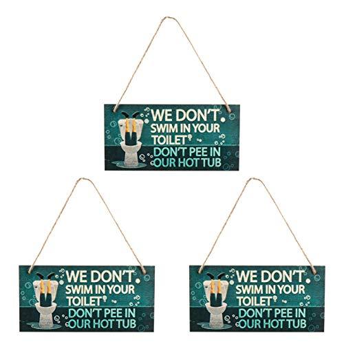 NUOBESTY 3 Stück Lustige Badezimmerschilder Die Wir Nicht in Der Toilette Schwimmen Pinkeln Nicht in Unserem Whirlpoolschild Holzwandplakettenschild