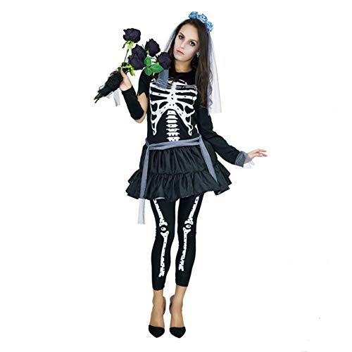 Country hill Ropa de Halloween para Mujeres Ropa de Esqueleto Punky Funky Disfraz de Hueso de Mujer para Festival