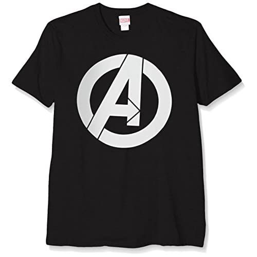 Marvel Avengers Simple Logo T-Shirt, Nero (Black), M Uomo