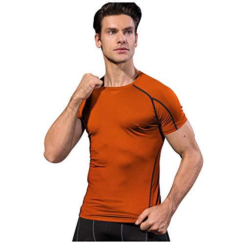 2021 Hombre Verano Tops , Fitness Deportes Correr Ropa de Entrenamiento Estiramiento de Secado rápido de Manga Corta Camiseta Ajustada Verano Color sólido Hombre T-Shirt Entrenamiento Elástico