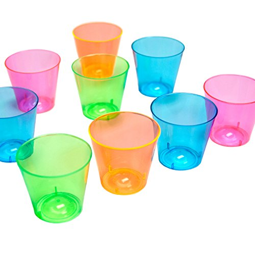 Party Essentials N406261 Hard Plastic Shot Glasses, 150-Count, 1-Ounce, Assorted Neon