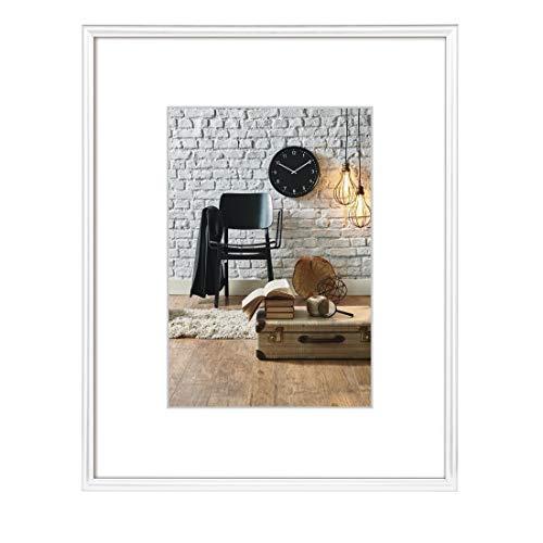 Hama Bilderrahmen Sevilla DIN A4 (21 x 29,7 cm) mit Papier-Passepartout 15 x 20 cm, hochwertiges Glas, Kunststoff Rahmen, zum Aufhängen, weiß