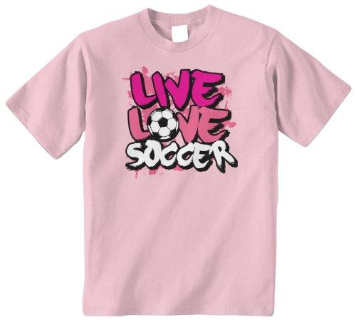 Threadrock Big Girls' Live Love Soccer Youth T-Shirt S Pink