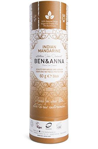 Ben&Anna Déodorant Soda Naturel 100% Aluminium Sans Cruauté Sans Cruauté Certifié NATRUE avec Beurre de Karité Bio et Bicarbonate de Soda Fabriqué en Allemagne Mandarine Indienne 60 g