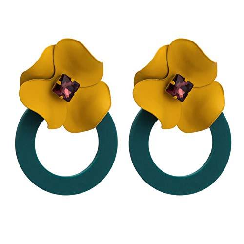 MAJFK Earrings for Women Silver Earrings for Her Flower Earrings Silver Stud Earrings Gifts Retro Earrings Pearl Earrings Freshwater Rhinestone Earrings,Yellow Flower + Green Circle