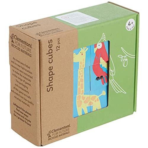 Clementoni - 16228 - Shapes Cubes - Animali, cubi impilabili per bambini 12 pezzi, puzzle bambini 4 anni - materiale 100% riciclato - Play For Future - Made in Italy