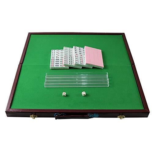 LXB Mini Mahjong Tiles, Portable Mahjong Tiles, Travel Mahjong, Simple y portátil, agrega una Variedad de diversión a su Viaje, Viene con una Mesa de Mahjong y una Regla,Rosado