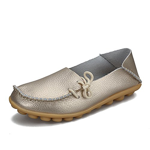 SUNROLAN Womens Leather Cowhide Casual Lace-up Slipper Slip-on Loafers...