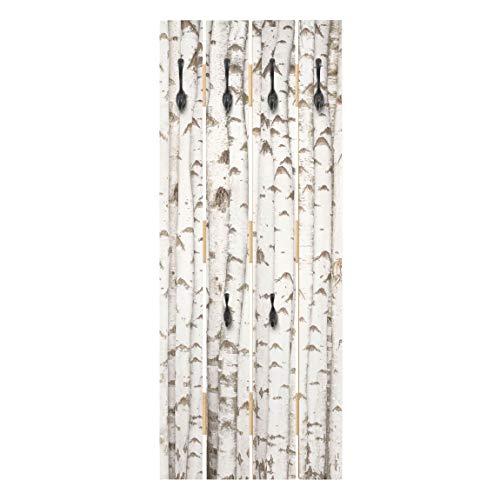 Wandgarderobe Holz Paneel - Birkenwand - Haken schwarz - Hoch 100 x 40cm