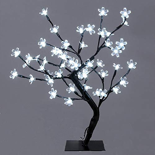 """Lxcom Lighting LED Cherry Blossom Bonsai Tree 18"""" 48 LEDs Plug-in Desk Top Bonsai Lighted Tree Artificial Crystal Flower Light Table Lamp Adjustable Black Branches for Party Wedding Home Decor, White"""