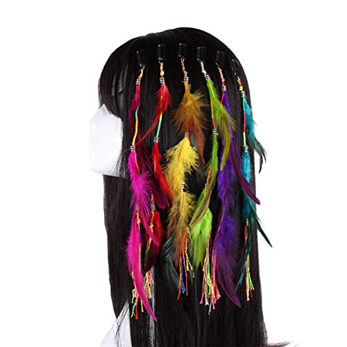 Numblartd 6 Pcs Handmade Hippie Feather Clip Comb Hairpin Hair Extensions - Fashion Boho Feather Headdress DIY Hair Accessories for Women Lady