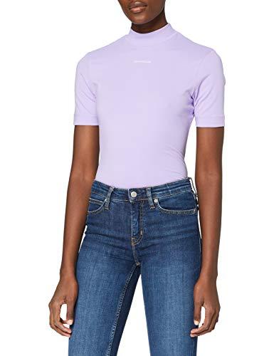 Calvin Klein Jeans Micro Branding Stretch Mock Neck Camiseta, Lila Palma, XS para Mujer