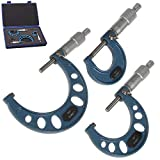 Anytime Tools 0-3' Premium Outside Micrometer Machinist Tool Set w/Carbide Tips