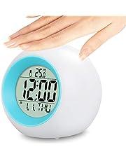 Despertador Digital,Despertador para Niños con 7 Colores Luz de Noche, Hora, Fecha,Temperatura,Función Snooze,Control táctil Reloj Despertador Digital para niños,niñas