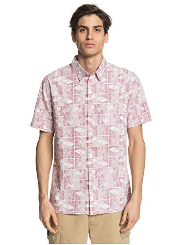 Quiksilver Herren Flower Woven Button Down Hemd, Chili Pfeffer Blume Block, Klein