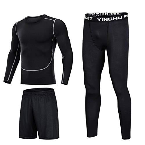 LPing Herren Plus Size Fitness Kleidung,Herren Gym Laufkleidung 2/3 / 5Pcs Set Compression Gym Wear Fitness Kleidung Set