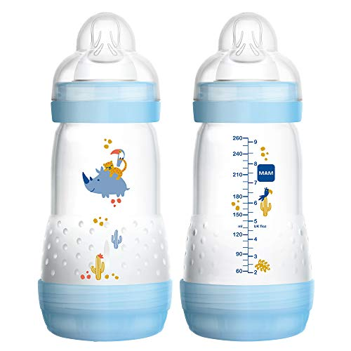 MAM Easy Start Anti-Colic Bottle 9 oz (2-Count), Baby Essentials, Medium Flow Bottles with Silicone Nipple, Baby Bottles for Baby Boy, Blue