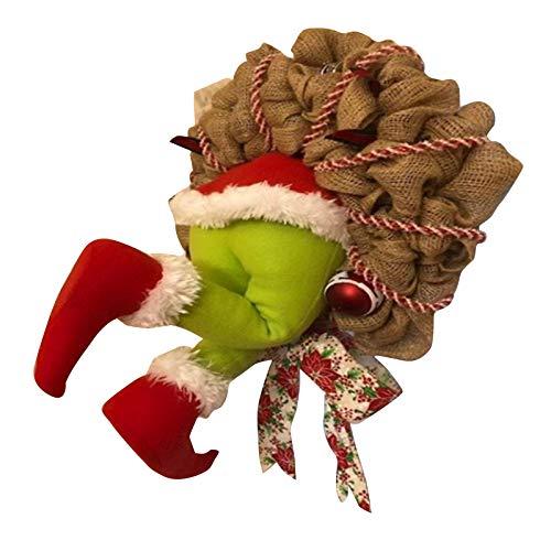 Zhizhuo Weihnachtliche Jutekranz, Weihnachtsgirlande, Dekoration, super niedlich und schön, tolle Geschenke, wie der Grinch Stole Weihnachtskranz für Freunde