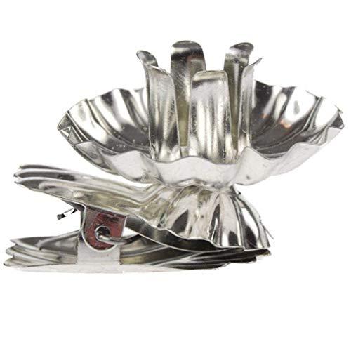 Euullinna Baumkerzenhalter Clip Form für Weihnachtsbaum 10 er Set, Vintage Kerzenteller Adventskranz Metall Kerzenhalter Gold Silber (Silber-LX1, 10)