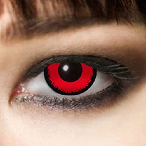 Lentillas de contacto de colores sin receta 3 M Lentillas de Halloween Lentillas de zombie, maquillaje de vampiro, maquillaje de vampiro Rojo ⭐