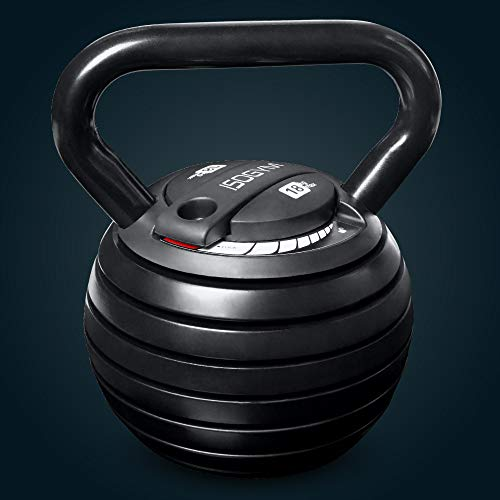 ISOGYM Adjustable Kettlebell 3-18kg Weight Set (Quick Safe Locking Mechanism) 7+ Weight Selections