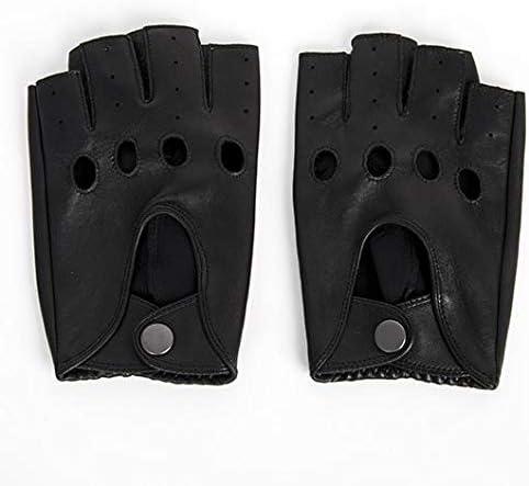 New Men Women Fingerless Leather Gloves Black Sheepskin Wrist Mittens Outdoor Half Finger Locomotives Driving Gloves AGB645 - (Color: Women Black, Gloves Size: M)
