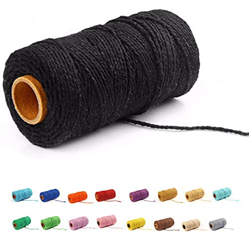 (109 Yards/1.5mm/19 Colors Optional) Macrame Cord Craft Macramé Cotton Baker Twine Craft Making Knitting Cord Rope DIY Wedding Decor Supply Christmas Wrapping String Rope (Black)