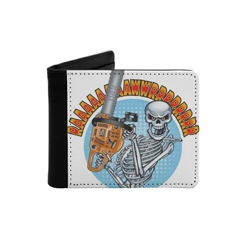 Cartera Delgada de Cuero para Hombre,Esqueleto Humano Sonriente sosteniendo una Motosierra,Cartera Minimalista con Bolsillo Frontal Plegable