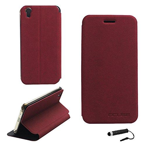 Tasche für UMIDIGI London Hülle, Ycloud PU Ledertasche Metal Smartphone Flip Cover Hülle Handyhülle mit Stand Function Rotwein