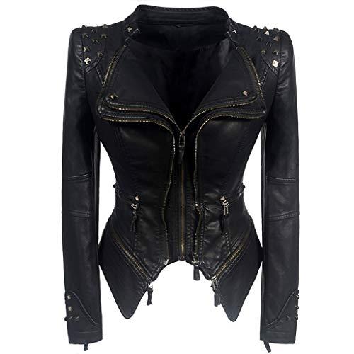 K-Flame Frauen Biker-Jacke Slim Fit Short Lederjacke mit Nieten Damen Multi-Zip Motorcycl Outwear Classic Black Punk Kostüm Mädchen Herbst Frühling,Schwarz,XL