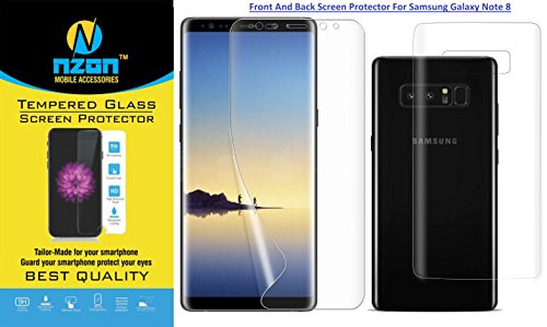 nzon™ Compatible For Galaxy Note 8 Privacy Tempered Glass [3D Curved][Case Friendly][Anti-Scratch] 9H Hardness Tempered Glass Film Screen Protector for Samsung Galaxy Note 8 (Pet Clear Combo)