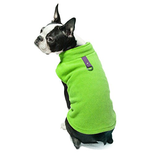 Gooby - Fleece Vest, Small Dog Pullover Fleece Jacket with Leash Ring, Lime, Medium