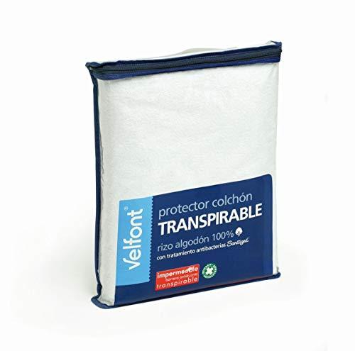 Velamen Velfont–Protector de colchón impermeable transpirable para cuna, color blanco