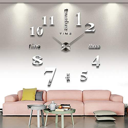 Mengwen - Reloj de pared 3D, diseño moderno, sin marco, con espejo, digital, relojes grandes, relojes grandes, para cocina, hogar, oficina, pegatina, decoración creativa, mute, extraíble (plata)