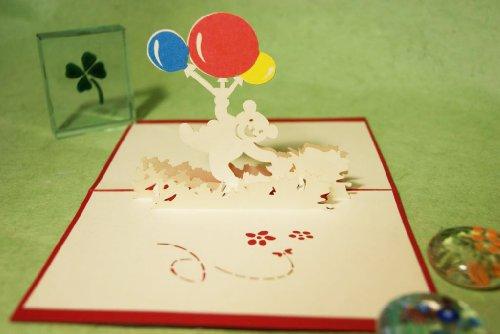 POPUP-CARD ドットコム 誕生日用グリーティングカード 立体ポップアップ 風船と熊さん T-001