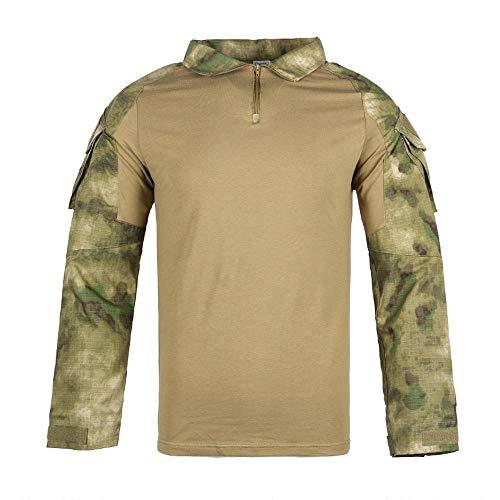 Qrigf Vêtements Tactiques Costume de Grenouille Chemise à Manches Longues Camouflage Fermeture éclair vêtements Tactiques Formation en Plein air Couverture Camouflage J-S