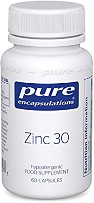 Pure Encapsulations - Zinc 30 - Zinc Picolinate 30mg - Highly Absorbable Hypoallergenic Immune System Supplement - 60 Capsules