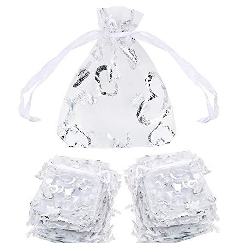 FLOFIA 100pz Sacchetti Organza 7x9cm per Regalo Gioielli Confetti Sacchettini Piccoli con Coulisse Bustine in Organza Cuorini Cuore per Valentine's Day Bomboniere Matrimonio Compleanno Festa Argento